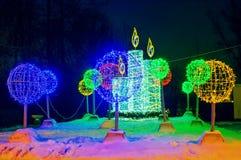 La luz eléctrica del Año Nuevo de la calle grande del ` s figura Fotografía de archivo libre de regalías