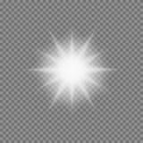 La luz que brilla intensamente del vector estalla con las chispas en fondo transparente ilustración del vector