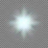 La luz que brilla intensamente del vector estalla con las chispas en fondo transparente stock de ilustración