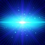 La luz radial de neón azul futurista de la tecnología abstracta estalló el effe ilustración del vector