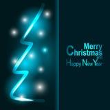 La luz y los copos de nieve de la tarjeta de felicitación de la Navidad vector el fondo Imagenes de archivo