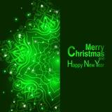 La luz y los copos de nieve de la tarjeta de felicitación de la Navidad vector el fondo Fotografía de archivo