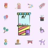 la máquina con los juguetes coloreó el icono sistema universal de los iconos del circo para la web y el móvil ilustración del vector