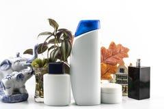 La máquina de afeitar, jabón, champú, desodorante, crema, parfume fijó el fondo del balneario imagen de archivo