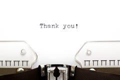 La máquina de escribir le agradece Fotografía de archivo libre de regalías