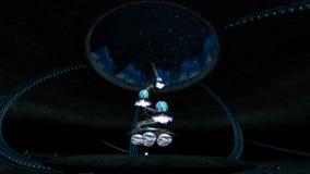 La máquina de la escena de Sci fi de la fantasía que crea una animación 3d de la estrella rinde el ejemplo stock de ilustración