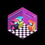 La máquina de neón de la arcada de los años 80 de los colores isométrica ilustra vector libre illustration