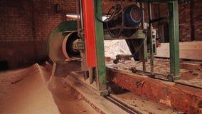 La máquina para aserrar abre una sesión al tablero se mueve a lo largo del registro Trabajo en la serrería