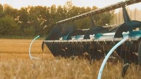 La máquina segador quita el campo del vídeo de la cámara lenta de la agricultura del pan del trigo cosecha de la hierba de la for almacen de video
