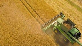 La máquina segadora de la visión superior recolecta el trigo en la puesta del sol Cosecha del campo de grano, estación de la cose almacen de metraje de vídeo