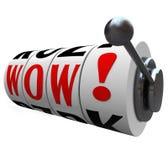 La máquina tragaperras de la palabra del wow rueda bote del ganador de sorpresa Imágenes de archivo libres de regalías