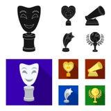 La máscara blanca imita para el mejor drama, un premio bajo la forma de corazón y otros premios Los premios de la película fijaro stock de ilustración