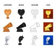 La máscara blanca imita para el mejor drama, un premio bajo la forma de corazón y otros premios Los premios de la película fijaro ilustración del vector