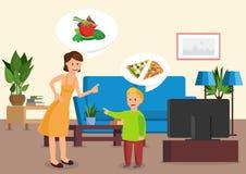 La mère de bande dessinée dit le fils de manger des légumes illustration de vecteur