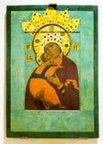 La mère de Dieu de Vladimir a peint sur le panneau en bois, 1561s Photo libre de droits