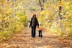 La mère et le descendant marchent à pied sur le stationnement automnal Photo libre de droits