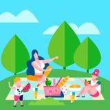 La mère et les enfants pique-niquent, illustration plate de vecteur illustration de vecteur