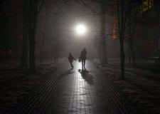 La mère et son enfant entrent dans le brouillard Image libre de droits