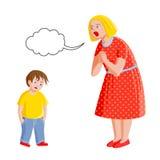 La mère gronde son fils Image stock