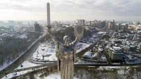 La mère patrie de monument en hiver, Kiev, Ukraine Image libre de droits