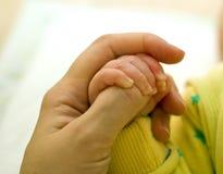 la mère tient la poignée de l'enfant Photo libre de droits
