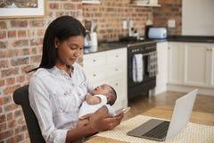 La mère travaillant sur l'ordinateur portable tient le fils nouveau-né et envoie le texte Photographie stock