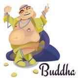 La méditation indienne d'isolement de Bouddha de dieux dans le yoga pose la religion de lotus et d'hindouisme de déesse, culture  illustration stock