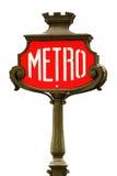 La métro rouge signent dedans Paris Photos stock