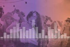 La música audio del equalizador de Digitaces adapta concepto del gráfico de la onda acústica Imagenes de archivo