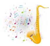 La música colorida observa el fondo con el saxofón libre illustration