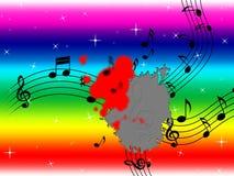 La música de las notas muestra la pista de sonido y acústico Fotos de archivo