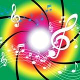 La música de las notas significa a Bass Clef And Audio Foto de archivo libre de regalías