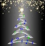 La música del árbol de navidad observa las estrellas libre illustration