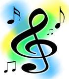La música del Clef agudo observa la ilustración Imagen de archivo