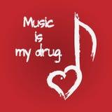 La música del texto es mi droga Silueta de las notas Fotografía de archivo