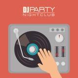 La música DJ va de fiesta tema ilustración del vector