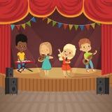 La música embroma la banda en escena del concierto stock de ilustración