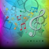 La música moderna observa el fondo del color ilustración del vector