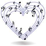 La música observa el corazón Foto de archivo