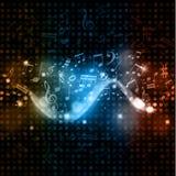 La música observa el fondo de las luces del disco Imagen de archivo