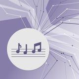 La música observa el icono en fondo moderno abstracto púrpura Las líneas en todas las direcciones Con el sitio para su publicidad stock de ilustración