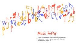 La música observa forma de la muestra Dé el silhuette colorido exhausto del bosquejo del símbolo de la melodía para los carteles stock de ilustración