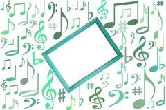 La música observa la maqueta en el fondo blanco con el marco de madera en el centro con el espacio libre de la copia del vlank stock de ilustración
