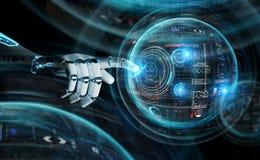 La m?quina del robot inteligente usando las pantallas digitales interconecta la representaci?n 3D libre illustration