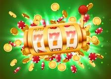 La m?quina tragaperras de oro con volar monedas de oro gana el bote Concepto grande del triunfo stock de ilustración