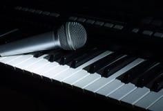 La m?sica del sintetizador en la oscuridad Micr?fono fotografía de archivo libre de regalías
