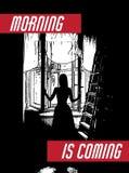 La mañana está viniendo Vector el ejemplo dibujado mano de la muchacha openening la ventana Imagen de archivo