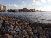 La mañana hermosa del mar Mediterráneo imagen de archivo