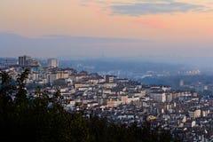 La mañana se enciende en Croix-Rousse, Lyon, Francia Fotografía de archivo