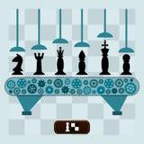 La macchina fa i pezzi degli scacchi Fotografie Stock Libere da Diritti